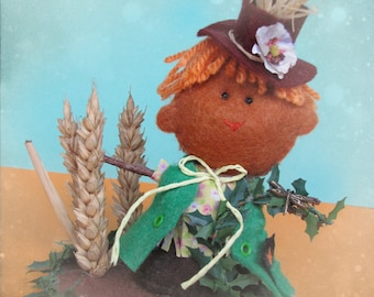 Johnny, the little Halloween Harvest Scarecrow Figurine - Cute felt Halloween ornament miniature - cute gift for decoration or cake topper