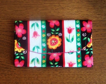 Whimsical flower and sparkles wallet