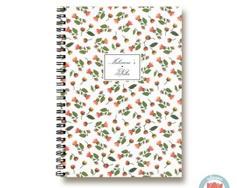 Bullet Journal Notebook - Small Red Flowers - Custom Notebook Floral Journal Sketchbook Spiral Notebook Schrift Girlfriend Gift 1N