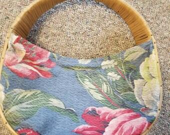 Bark cloth basket purse Moon basket purse floral print