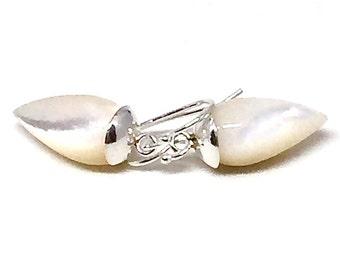 Pearl Acorn Earrings Acorn Earrings Mother of Pearl Silver Acorn Earrings June Birthstone Womens Gift for Wife Her Bridal Earrings Acorns