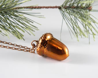 Copper Dipped Acorn Necklace with 20 inch chain, Real Acorn Pendant