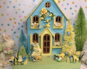 Easter House(Large) Aqua and Yellow with Bunny and Chicks
