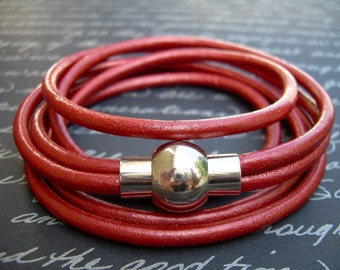 Womens Red Leather Bracelet Wrap Bracelet with Stainless Steel Magnetic Clasp, Red Leather Bracelet, Womens Jewelry, Womens Bracelet,