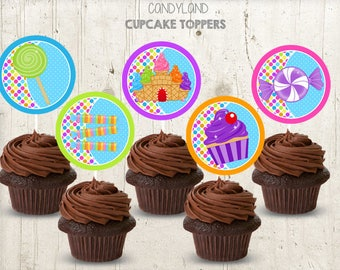 INSTANT DOWNLOAD Sweet Shop cupcake toppers instant download, Candy land birthday Toppers , Candyland Party Toppers