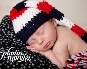 Long Tail Hat, Elf Hat, Patriotic Newborn Photo Prop, 4th of July Newborn Hat, Crochet Baby Hat, Newborn Elf Hat, Red White and Blue Hat