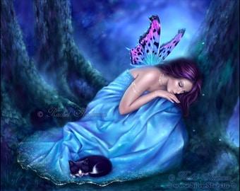 Serenity Fine Art Print - sleeping fairy and kitten