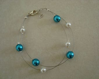 Double white and turquoise Glass Bead Bracelet