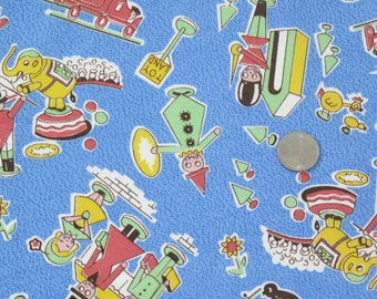 Toy Story Fabric, American Folk & Fabric  Quilting Fabric Vintage Collection PR 205, Blue Childrens Fabric, Sewing Yardage, Toy Fabric