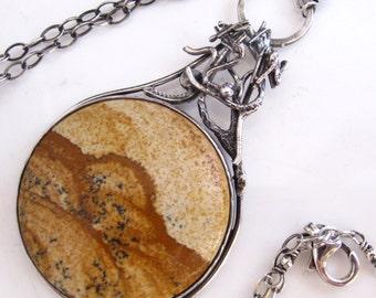 Joshua Tree Necklace - Sterling silver tree African Queen Jasper