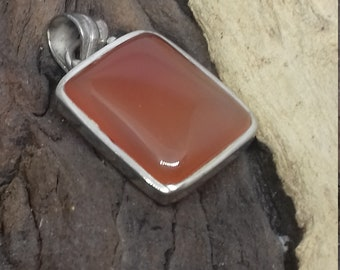 Individual Carnelian and 925 Silver Pendant