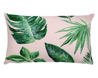 Pink Palm Leaf Rectangular Pillow, pink throw pillow, pink leaf pillow, palm leaf pillow, blush pink pillow, tropical leaf pillow