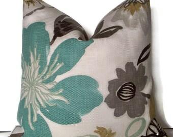 Blue Pillow Cover Aqua Floral Gorgeous Pearl Braemore Aqua Spa Floral Pillow Cover 0