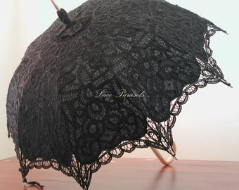 Black Lace Parasol with hooked handle