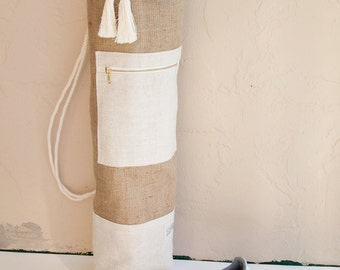 Jute Yoga Mat Bag Burlap and Linen Minimalist Oversized Yoga Bag Sailor Bag