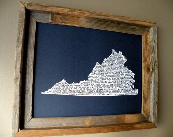 Virginia In A Nutshell Word Art Map Print (Dark Blue) - Unframed