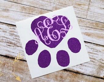 Paw Print Heart Monogram Glossy and Glitter Vinyl Decal, Custom Initials, Vinyl Sticker, Cat, Dog