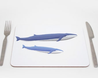 Blue Whale Placemats | Underwater Placmeat | Ocean Placemat | Nortical Placemat |  Whale Tablemat | Childrens placemat | Kids placemat
