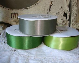 "Green satin ribbon 1"" 1/2 destash wedding gift packaging craft supplies 3 yards ribbon Leaf green sage green and lemon-grass green"