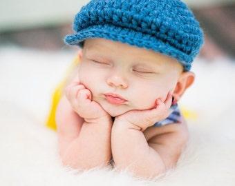 Denim Blue Baby Boy Hat Irish Donegal Cap Newborn Baby Hat Crochet Irish Donegal Hat Newborn Baby Boy Newborn Photo Prop Newsboy Hat