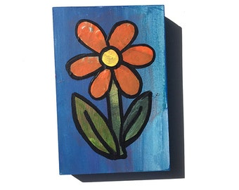 Pretty Orange Flower Painting - Daisy Art, Whimsical Mixed Media Collage Art, Small Painting, Floral Art by Claudine Intner