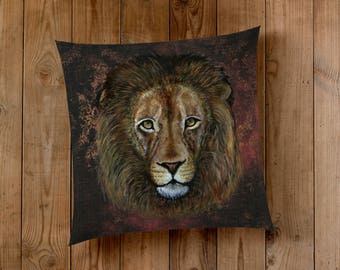 Decorative Pillow of The Lion - Wizard House courage, chivalry, and determination