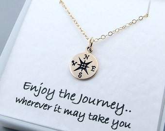 Gold Compass Necklace, Graduation gift, Enjoy the Journey, Travel jewelry, Good Luck