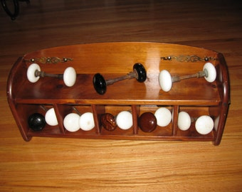 ANTIQUE DOOR KNOB Wooden Display Shelf Complete With Porcelain Knobs Can Hang On Wall Or Sit On Shelf