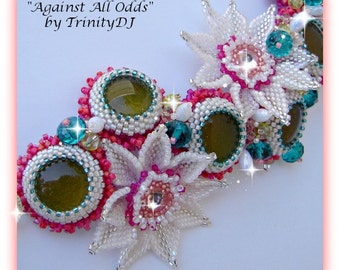 BR-164-2016-113 - Against All Odds - Bead embroidered bracelet, bead woven flowers, beaded cuff, embellished bracelet,