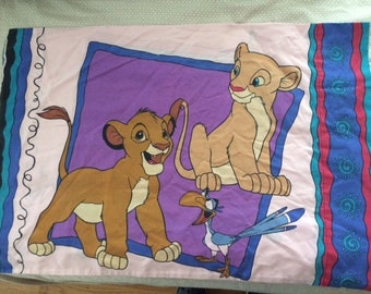 Vintage Lion King Disney Pink Purple Pillowcase Simba