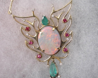 14k Gold  Flaming Butterfly Opal Emerald Ruby Diamond Necklace