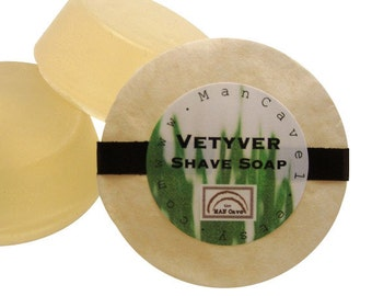 SHAVE Soap - VETYVER - Shaving Cake with Bentonite Clay and Moisturizing Shea Butter by Man Cave Soapworks