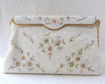 Vintage French Beaded Handbag White Glass Bead Wedding Purse Designer C. & M. Caron Hand Made In France Formal Bridal Evening Bag Flowers