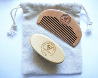 Peach Wood Comb&Boar Bristle Brushes Pocket brush For Men Beard Care Set Engrave Your Logo