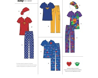 Simplicity Sewing Pattern 8266 Misses' Easy To Sew Scrub Tops, Pants and Hat