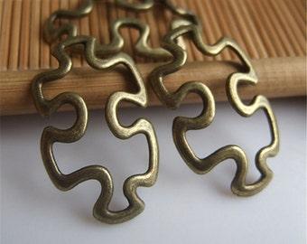 4 Puzzle Piece Charms Antique Bronze Tone Autism Awareness Charms Jigsaw Puzzle Piece Charms Charm Bracelet Bangle Bracelet Pendants #668