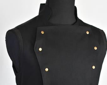 Ready to ship, Mens Black Steampunk Victorian Vest - Black Pirate Costume Renaissance Burning Man Festival Hipster Waist Coat Vest