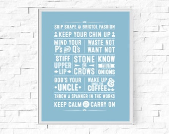 """Printable British Sayings Typography Print - Great Britian - Word Poster - Home Decor -  Instant Download - Wall Art - 8""""x10"""" and A4."""