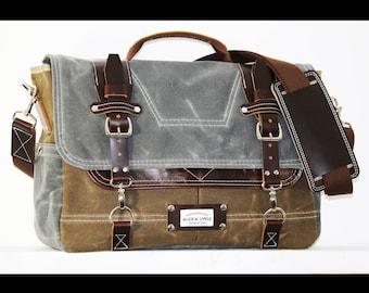 Waxed Canvas Messenger bag - laptop bag handmade by Alex M Lynch - 010059
