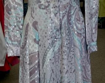1970's  Nancy Greer Vintage Maxi Hostess Dress