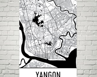 Carte de Yangon, Yangon Art, impression de Yangon, Yangon Myanmar affiche, Yangon Art mural, carte de Yangon, Yangon cadeau, décor de Yangon, Yangon Carte impression d'Art