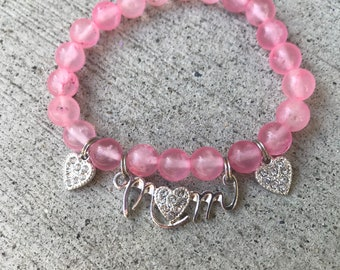 "Pink ""Mom"" Mothers Day bracelet, pink bracelet, Mother's Day gift"