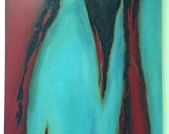 VENTE 36 x 48 original peinture infusé avec rouge acrylique abstrait mixte par RSalcedo FFAW livraison gratuite