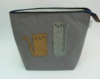 Tweedy Kitties large zipped project bag, large knitting bag