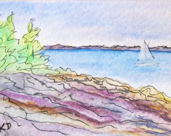 Original Miniature Art Gouache Painting ACEO Seascape Massachusetts Small Artist Trading Card Kathleen Daughan Western Avenue Artist