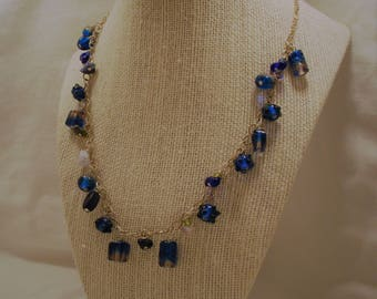 Mixed Blue Glass Drops Necklace