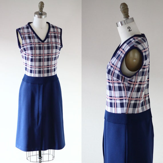 1960s checkered dress // 1960s sleeveless dress // vintage dress
