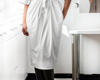 White Leather Maxi dress, Midi dress, Fall Winter dress, Plus size dress, Party Dress, Oversized dress,   Casual dress