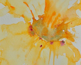 Yellow flower, Original watercolor painting, Small painting, card, home decorate, gift, size 4 x 6 inches
