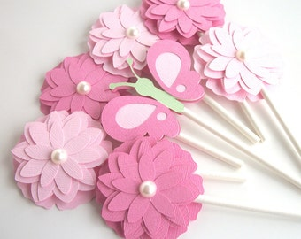 Flower Butterfly Cupcake Toppers Butterfly Birthday Party First Birthday Party Butterfly Cupcake Topper • Set of 12